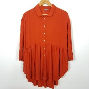 Aerie Rust Orange Button Down Boho Tunic Oversized